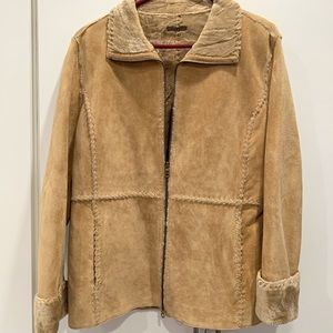 Guess Suede Leather M Jacket Tan Faux Fur Lined